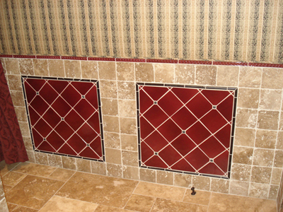 AJF Red Tile & Fabric Wall